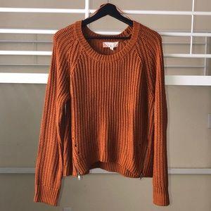 Rust Orange Knitted Sweater w/ Zipper Accent